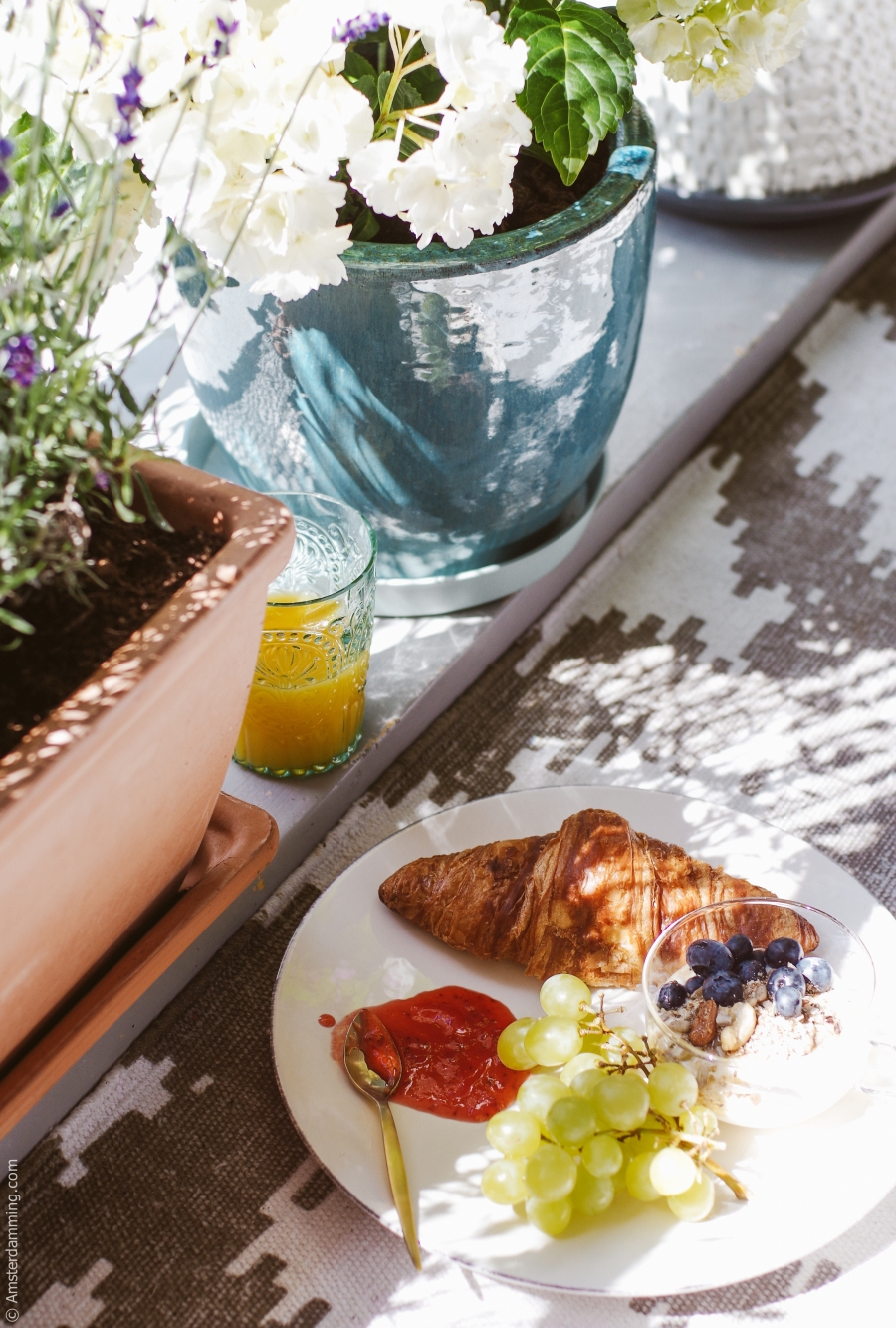 2016 JUNE Amsterdam Balcony Breakfast-1